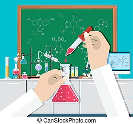 Science Experiment in laboratory.