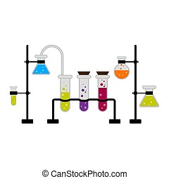 Science experiment with different flasks