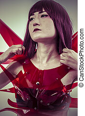 science fiction art, Japanese manga-style women dressed in red g