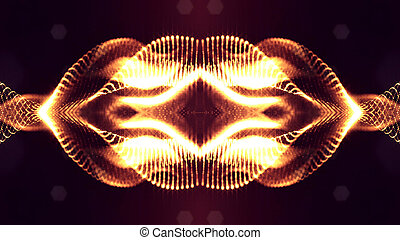 science fiction background of glowing particles with depth of field and bokeh. Particles form line and abstract surface grid. 3d rendering V51