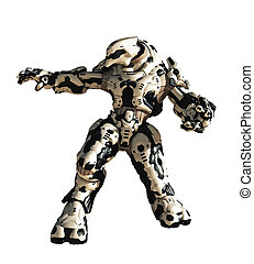 Futuristic science fiction battle robot ready to attack, 3d digitally rendered illustration