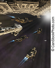 Science Fiction Boarding Party - Space marines with jet...