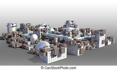 Science fiction city with glass domes, tubes and metallic...