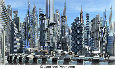 Science fiction city with glass, metallic structures for...