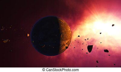 """""""Science fiction fantasy animation background."""" - """"Asteroids..."""