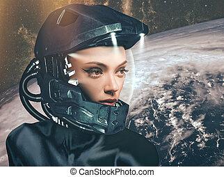 Science fiction, female portrait against fantastic skies