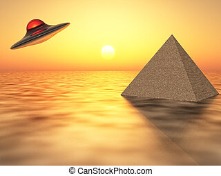 science fiction - flying saucer flying over a pyramid in the...