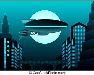 Science fiction illustration. Zeppelin in front of urban landscepe