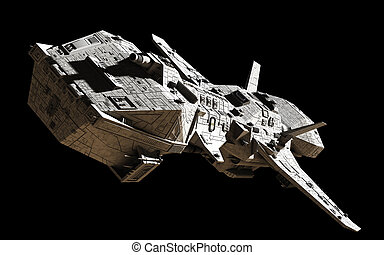 Science Fiction Interplanetary Spaceship - Front Angled View