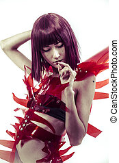 science fiction, Japanese manga-style women dressed in red glass
