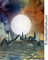 science fiction landscape with strange ground formation