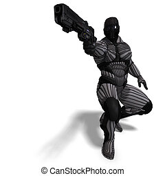 science fiction male character in futuristic suit. 3D...
