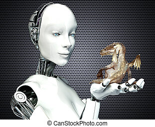 Science Fiction meets Fantasy. Female android robot holding...