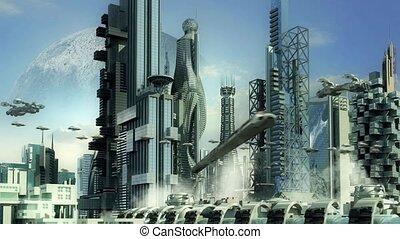 Science fiction skyline - Skyline of science fiction city...