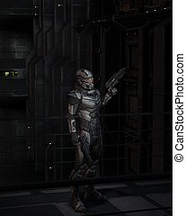 Science Fiction Soldier at Night - Science Fiction soldier...