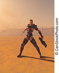 Science Fiction Warrior Priestess in the Desert