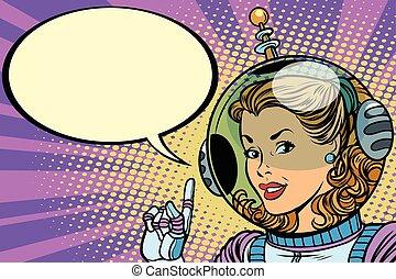 Science fiction woman astronaut hero. Comic book cartoon pop art retro vector illustration drawing