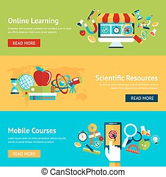 Science flat banner set with online learning scientific...