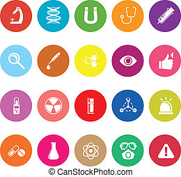 Science flat icons on white background