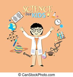 Science for kids. Cartoon scientist, collection of science symbols and design elements. Vector Illustration