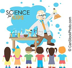 Science for kids. Cartoon scientist shows to kids chemistry experiment in laboratory. Vector Illustration