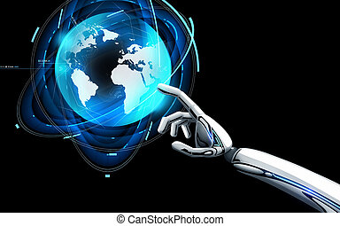 robot hand touching virtual earth hologram