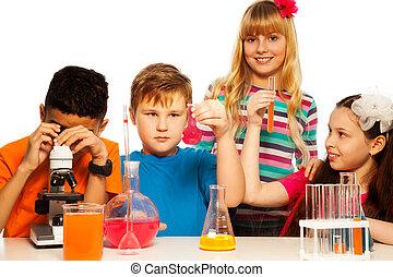 science, gosses, équipe