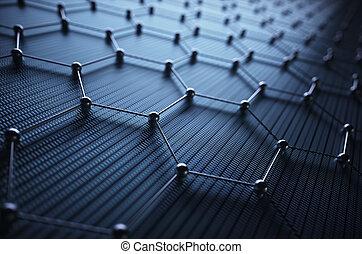 science, graphene, connexion, atomique, hexagonal, technologie