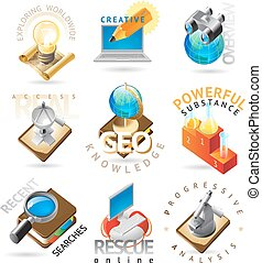 Science headers - Science icons. Heading concepts for...