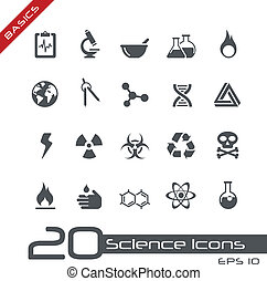 science, icônes, //, élémentsessentiels