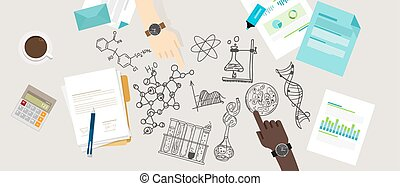 science icon biology lab sketch drawing illustration chemistry laboratory desk research collaborate team work