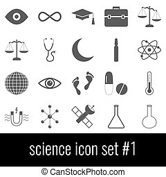 Science. Icon set 1. Gray icons on white background.