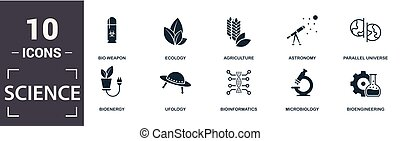 Science icon set. Contain filled flat agriculture,...
