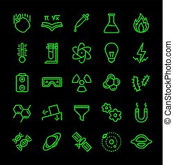 Science icon set green line black isolated modern flat design