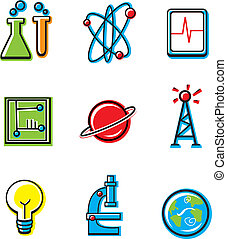 Science Icons - A variety of cartoon icons with a science ...