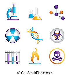 Science icons - A vector illustration of a set of science ...