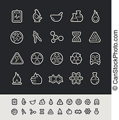 Science Icons -- Black Line Series