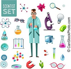 Science Icons Cartoon Set