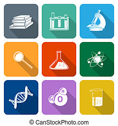 Science Icons Flat Set