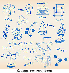 Science Icons - hand drawn science icons