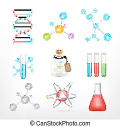 Science icons on white
