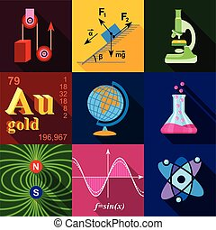 Science icons set, flat style