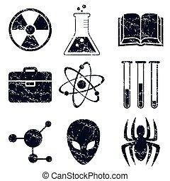 Science icons set, grunge