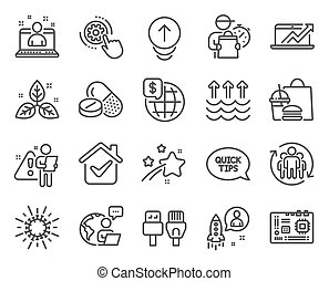 Science icons set. Included icon as Evaporation, Motherboard, Computer cables signs. Medical drugs, Fair trade, World money symbols. Cogwheel settings, Swipe up, Teamwork. Coronavirus. Vector