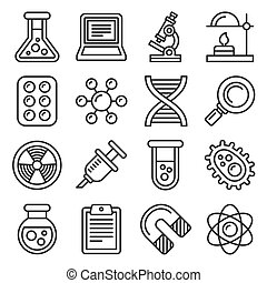 Science Icons Set on White Background. Line Style Vector ...