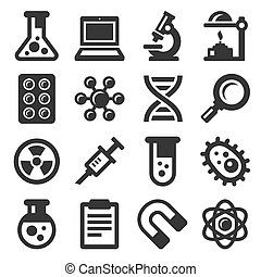 Science Icons Set on White Background. Vector