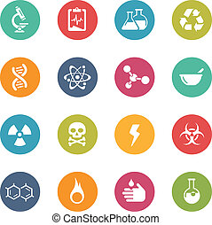 Science Icons - Vector Icons and buttons in different...