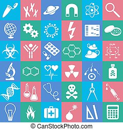 Science icons - White science vector icons collection in...