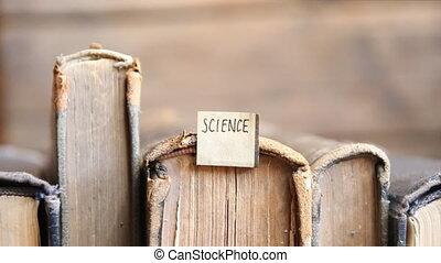 science idea, label and retro books