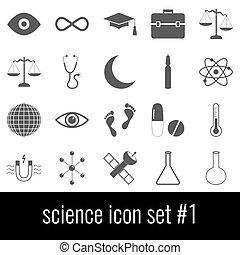 science., ikon, sæt, 1., gråne, iconerne, på hvide, baggrund.